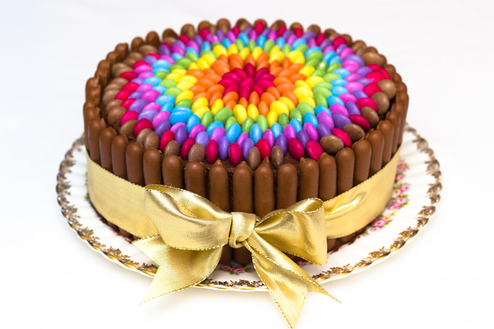 Rainbow Coloured Birthday Cake