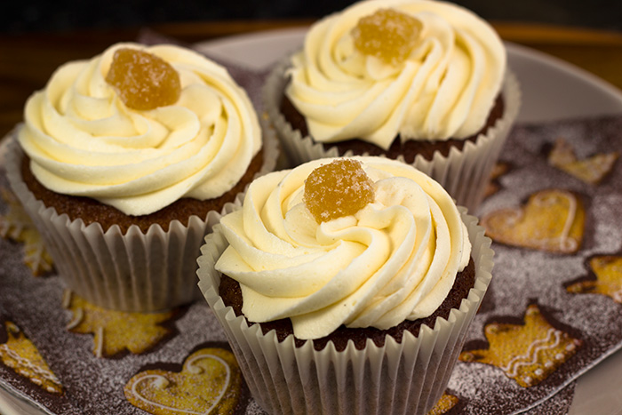 Vegan Sticky Gingerbread Cupcakes with a Vegan Lemony Frosting