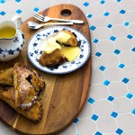 Blackberry and apple turnovers with home made custard