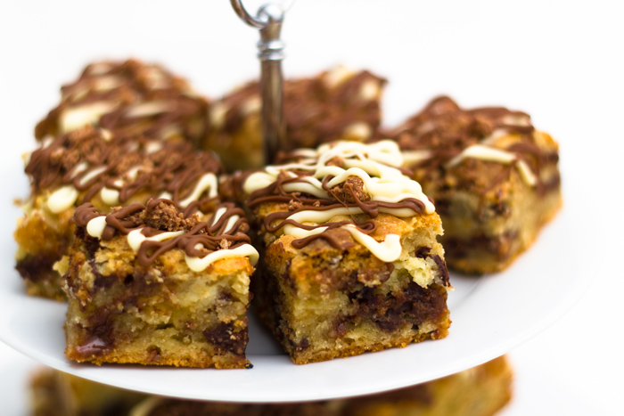 Toffee Crisp and Chocolate Chip Cheesecake Cookie Bars!