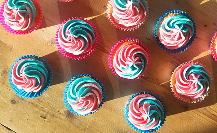 Vanilla Cupcake Recipe with Two Tone Frosting