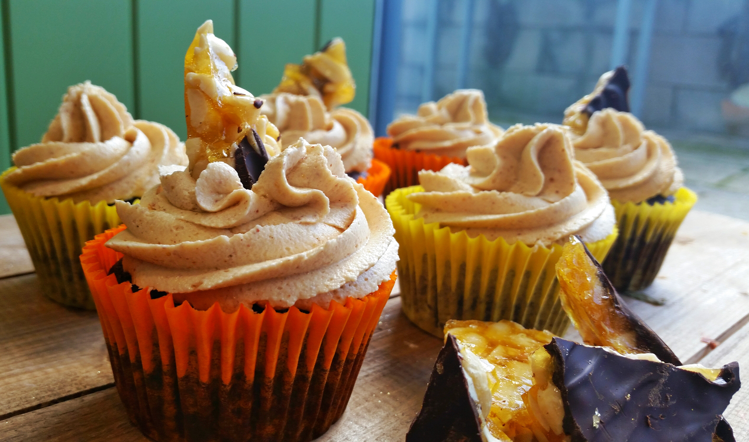 Vegan Chocolate Peanut Butter Cupcakes With Peanut Brittle